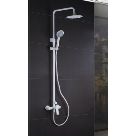 Conjunto de ducha monomando blanco mate serie art