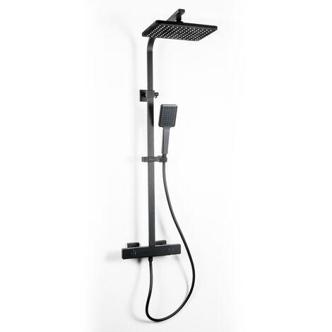 Conjunto de ducha termostático extensible negro Nine Xtreme