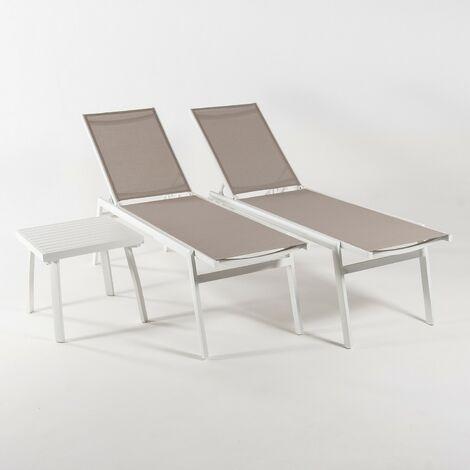 "main image of ""Conjunto de exterior | 2 tumbonas reclinables + 1 mesita auxiliar | Aluminio reforzado blanco y textilene 2x2 taupé | Portes gratis"""