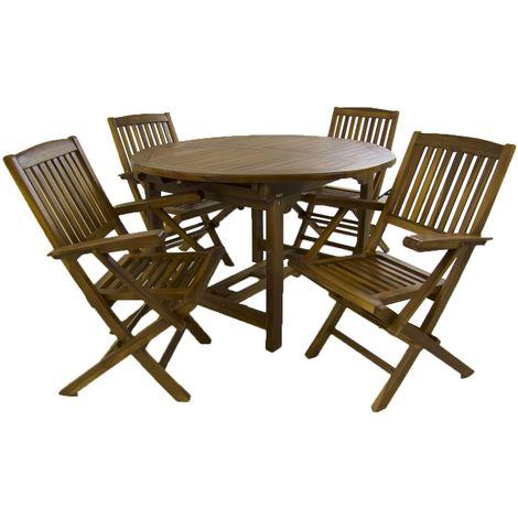 Conjunto de exterior de madera teca | Mesa redonda extensible 120/180 cm y 4 sillones plegables | Madera teca grado A | Tratamiento al agua aplicado | Portes gratis