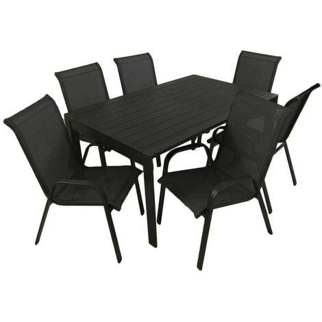 Conjunto de exterior | Mesa jardín extensible 160/220 cm y 6 sillones apilables con respaldo de 96 cm | Aluminio color antracita | 6 plazas | Portes gratis