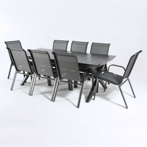 Conjunto de exterior | Mesa jardín extensible 215/295 cm y 8 sillones apilables con respaldo de 98 cm |