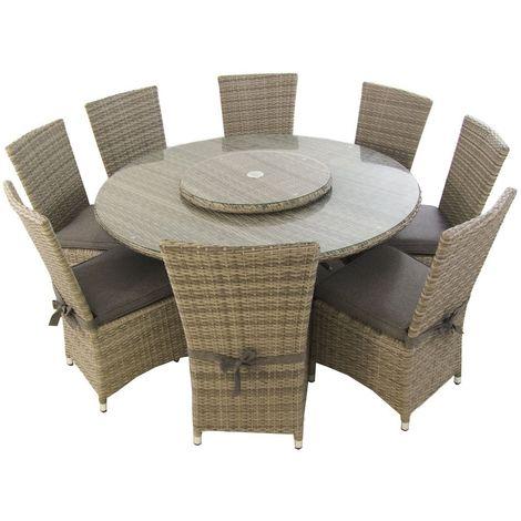 Conjunto de exterior   Mesa redonda 150 cm y 8 sillas con faldón   Aluminio y rattán sintético plano color gris   8 plazas   Cristal templado 5 mm   Portes gratis - Gris-plano