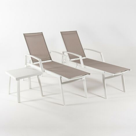 Conjunto de jardín | 2 tumbonas reclinables con brazos + 1 mesita auxiliar | Aluminio reforzado blanco y textilene 2x2 taupé | Portes gratis