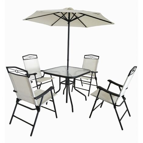 Conjunto de Jardín Chillvert Palatino Acero 1 Mesa + 4 Sillas + 1 Parasol Blanco Crudo