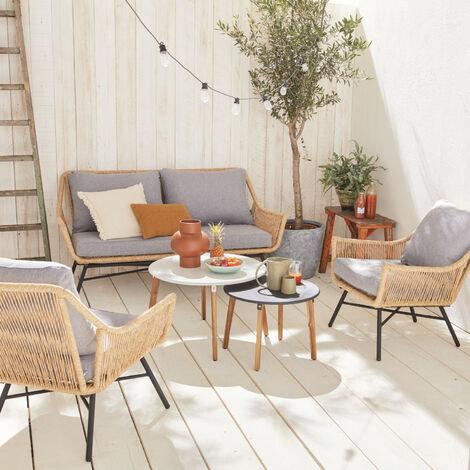 Conjunto de jardín de 4 plazas KUTA - Conjunto de sofá de 2 plazas y 2 sillones con 2 mesas auxiliares, resina trenzada efecto ratán, cojines beige - Madera