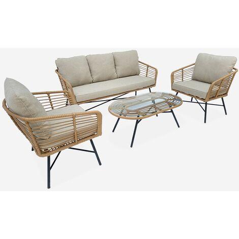 Conjunto de jardín de 5 plazas UBUD - Conjunto sofá de 3 plazas y 2 sillones con 2 mesas auxiliares, resina trenzada con efecto ratán, cojines gris claro jaspeado - Madera