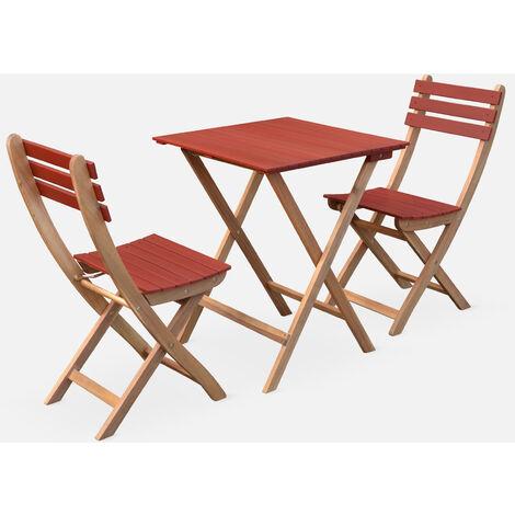 Conjunto de jardín de madera Bistro 60x60cm - Barcelona - terracota, mesa plegable cuadrada bicolor con 2 sillas plegables, acacia - Terra Cotta
