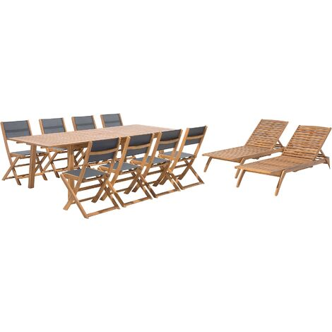 Conjunto de jardín de madera Mesa 8 sillas textileno gris oscuro 2 tumbonas CESANA