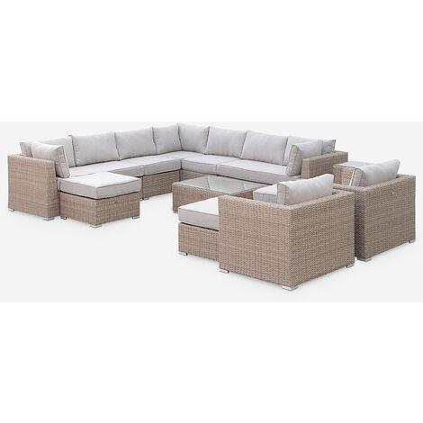 Conjunto de jardín de resina redonda trenzada XXL - VERONA - Cojines color beige, naturales - 14 plazas