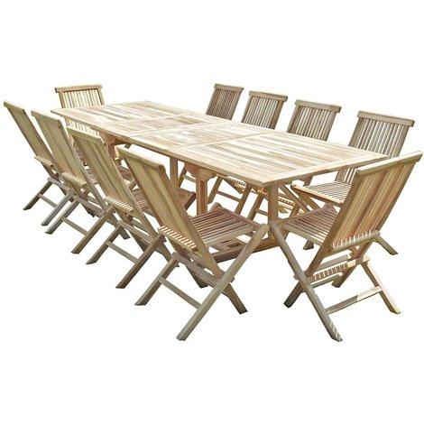 Conjunto de jardín de teca BATAN 10 sillas JALANG