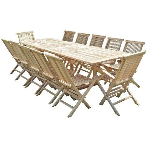 Conjunto de jardín de teca BATAN 10 sillas y 2 sillones