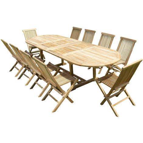 Conjunto de jardín de teca de lujo NAYAN 10 sillas JENAE