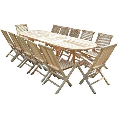 Conjunto de jardín de teca HENUA 10 sillas y 2 sillones
