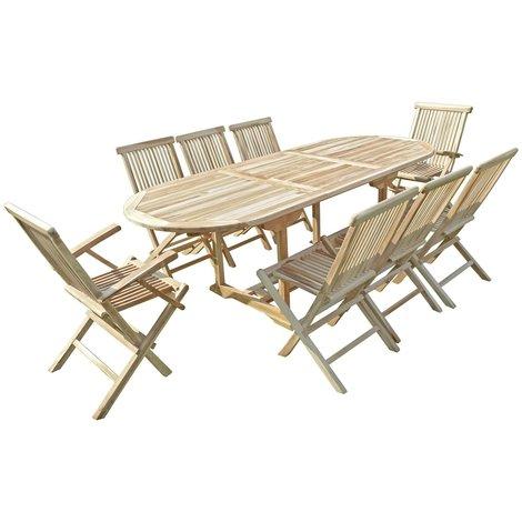 Conjunto de jardín de teca MAHUI 6 sillas y 2 sillones