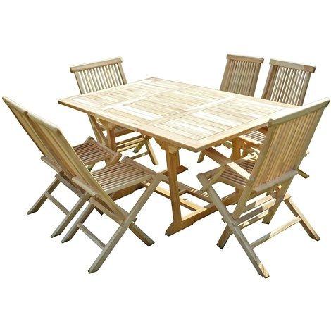 Conjunto de jardín de teca SERANG 4 sillas y 2 sillones