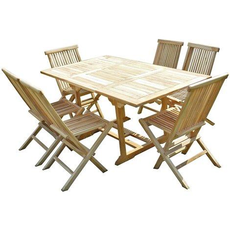 Conjunto de jardín de teca SERANG 6 sillas JALANG