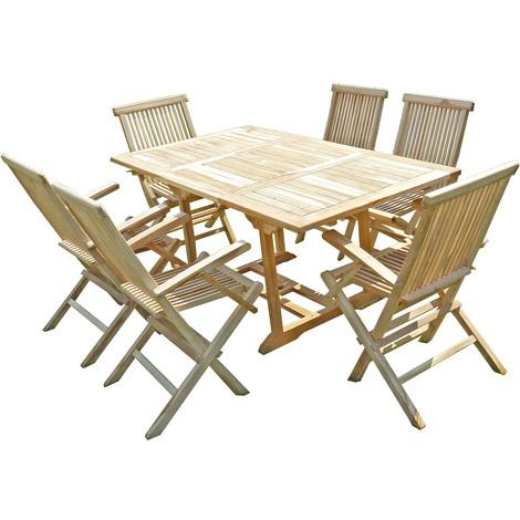Conjunto de jardín de teca SERANG 6 sillones plegables