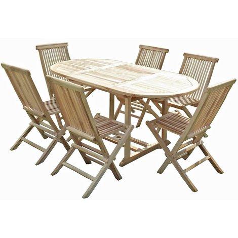 Conjunto de jardín de teca SOLO 6 sillas