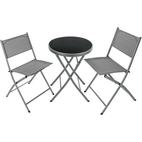 Conjunto de jardín Düsseldorf - muebles de jardín modernos, mesa y sillas de terraza con estructura de acero, mobiliario de jardín plegable portátil
