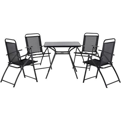 Conjunto de jardín en acero negro con 4 sillas LIVO