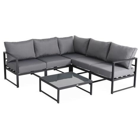 Conjunto de jardín esquinero de aluminio 5 plazas - Stratum