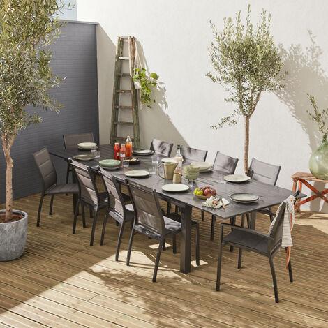 Conjunto de jardín extensible - Odenton Antracita - mesa extensible de aluminio de 235/335cm con 10 asientos de textileno - Anthracite