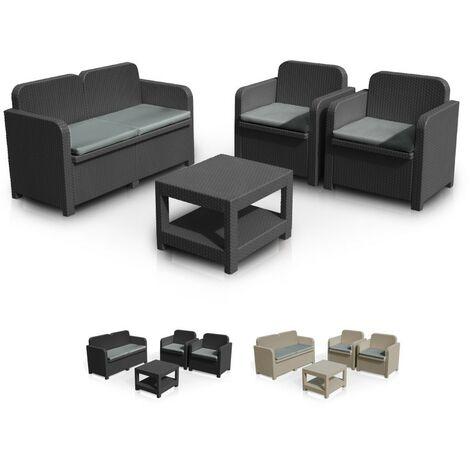 Conjunto de jardín Grand Soleil Sorrento Poliratán mesa sofá sillones Exterior 4 plazas