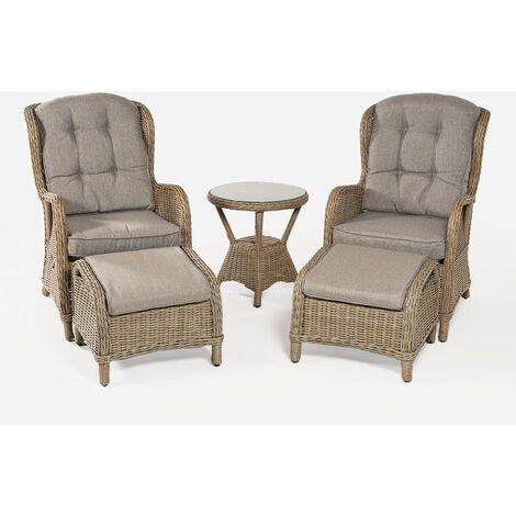 Conjunto de jardín | Mesa auxiliar | 2 sillones reclinables y 2 reposapiés | Aluminio y rattán sintético redondo |