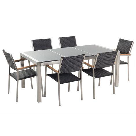 Conjunto de jardín mesa con tablero de piedra natural pulida gris 180 cm, 6 sillas en ratán GROSSETO