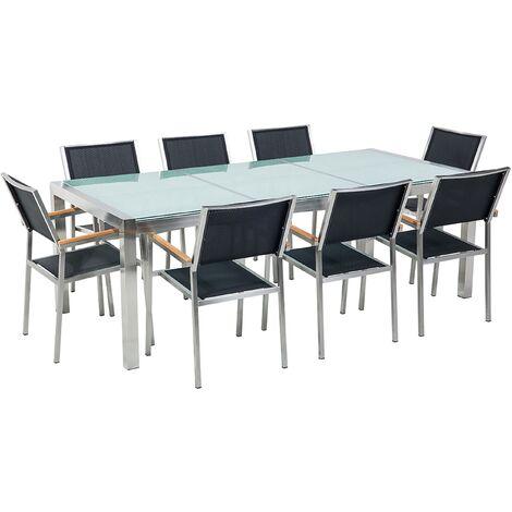 Conjunto de jardín mesa en vidrio 220 cm, 8 sillas negras GROSSETO