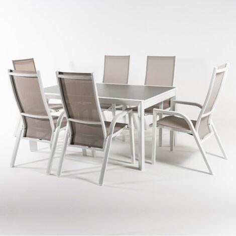 Conjunto de jardín   Mesa extensible 160/210 cm y 6 sillones reclinables   Aluminio blanco   Textilene Taupé   Cristal mate   templado y grueso color taupé   Portes gratis