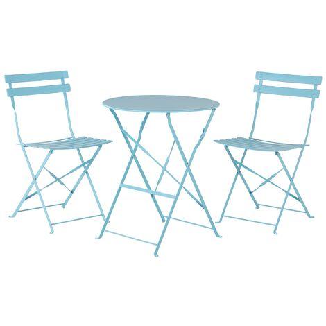 Conjunto de jardín mesa y 2 sillas azul FIORI