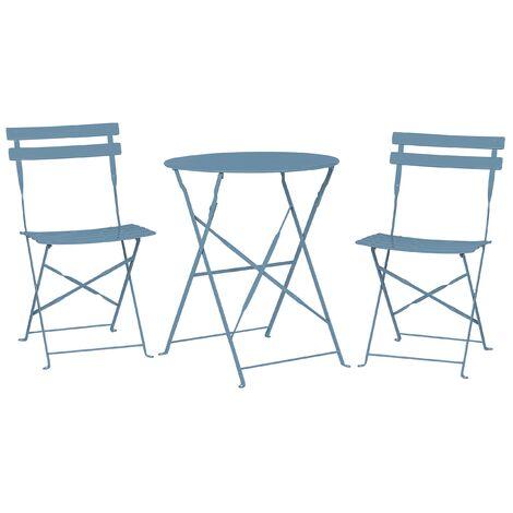 Conjunto de jardín mesa y 2 sillas azul marino FIORI