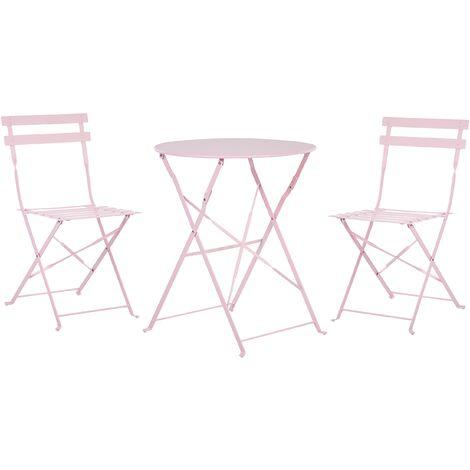 Conjunto de jardín mesa y 2 sillas rosa FIORI