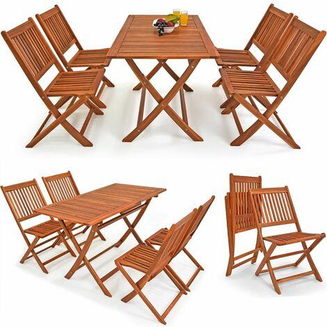 Conjunto de jardín Sydney Light de madera 1 mesa y 4 sillas plegables Jardín Terraza Patio
