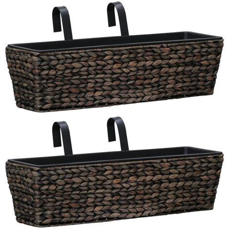 Conjunto de jardineras 2 unidades jacinto de agua marrón