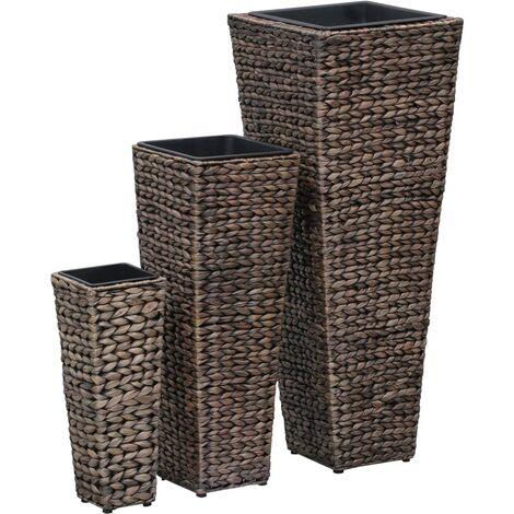 Conjunto de jardineras 3 piezas jacinto de agua marrón oscuro