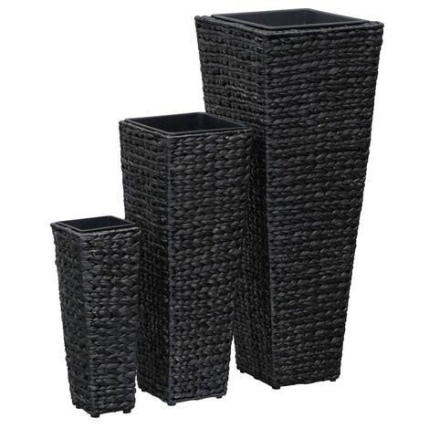 Conjunto de jardineras 3 piezas jacinto de agua negro