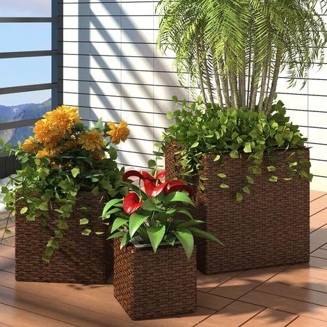 Conjunto de jardineras 3 piezas ratan sintetico marron