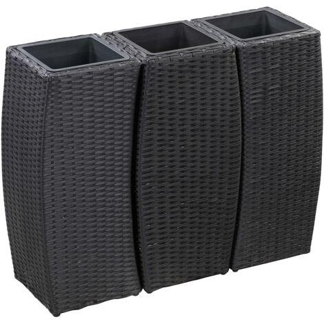 Conjunto de jardineras 3 piezas ratán sintético negro