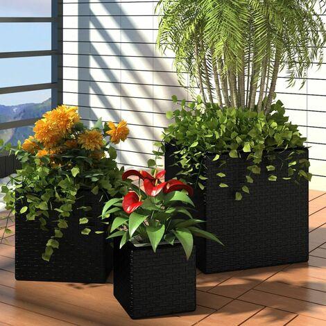 Conjunto de jardineras 3 piezas ratan sintetico negro