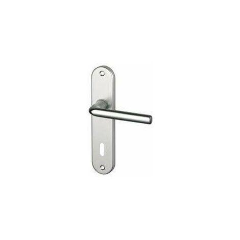 Conjunto de la manija de la puerta con la placa del agujero de la llave, aluminio plateado.