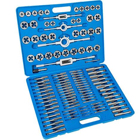 Conjunto de machos de roscar 110 piezas - machos de rosca de acero, machos de roscar con soporte en T y maletín, set de machos de rosca con giramachos - azul