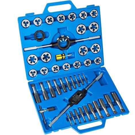 Conjunto de machos de roscar 45 piezas - machos de rosca de acero, machos de roscar con soporte en T y maletín, set de machos de rosca con giramachos - azul