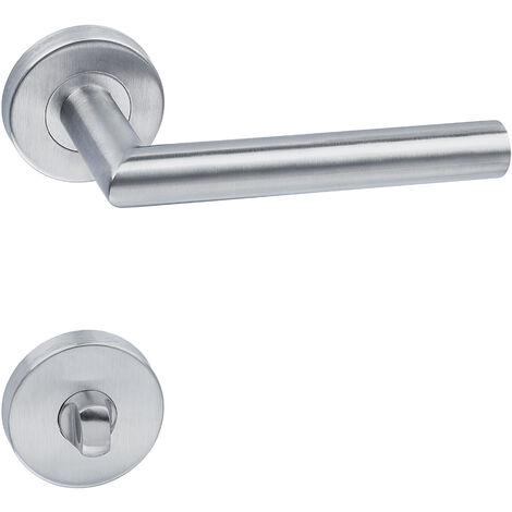Conjunto de manillas de acero inoxidable - set de manillas para puerta, picaporte para puertas interiores, manilla para cuarto de baño - gris