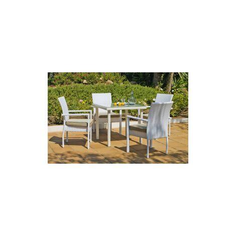 Conjunto de mesa + 4 sillones + cojines huitex Sandra/Emir-90+4+4c en acabado blanco Color Blanco