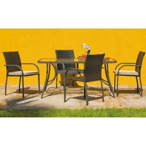 Conjunto de mesa + 4 sillones en acero/rattan Sevilla-150/4 en acabado marrón Color marrón