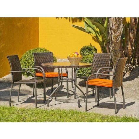 Conjunto de mesa + 4 sillones en acero/rattan Sevilla-90/4 en acabado marrón Color marrón