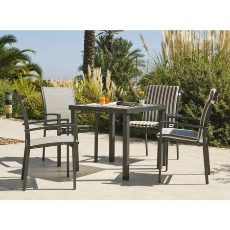Conjunto de mesa + 4 sillones Horizon-808/4 en acabado antracita Color Gris